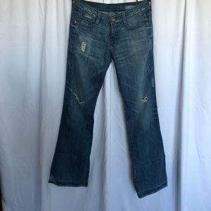 Pur Bardot Distressed Flared Denim Jeans